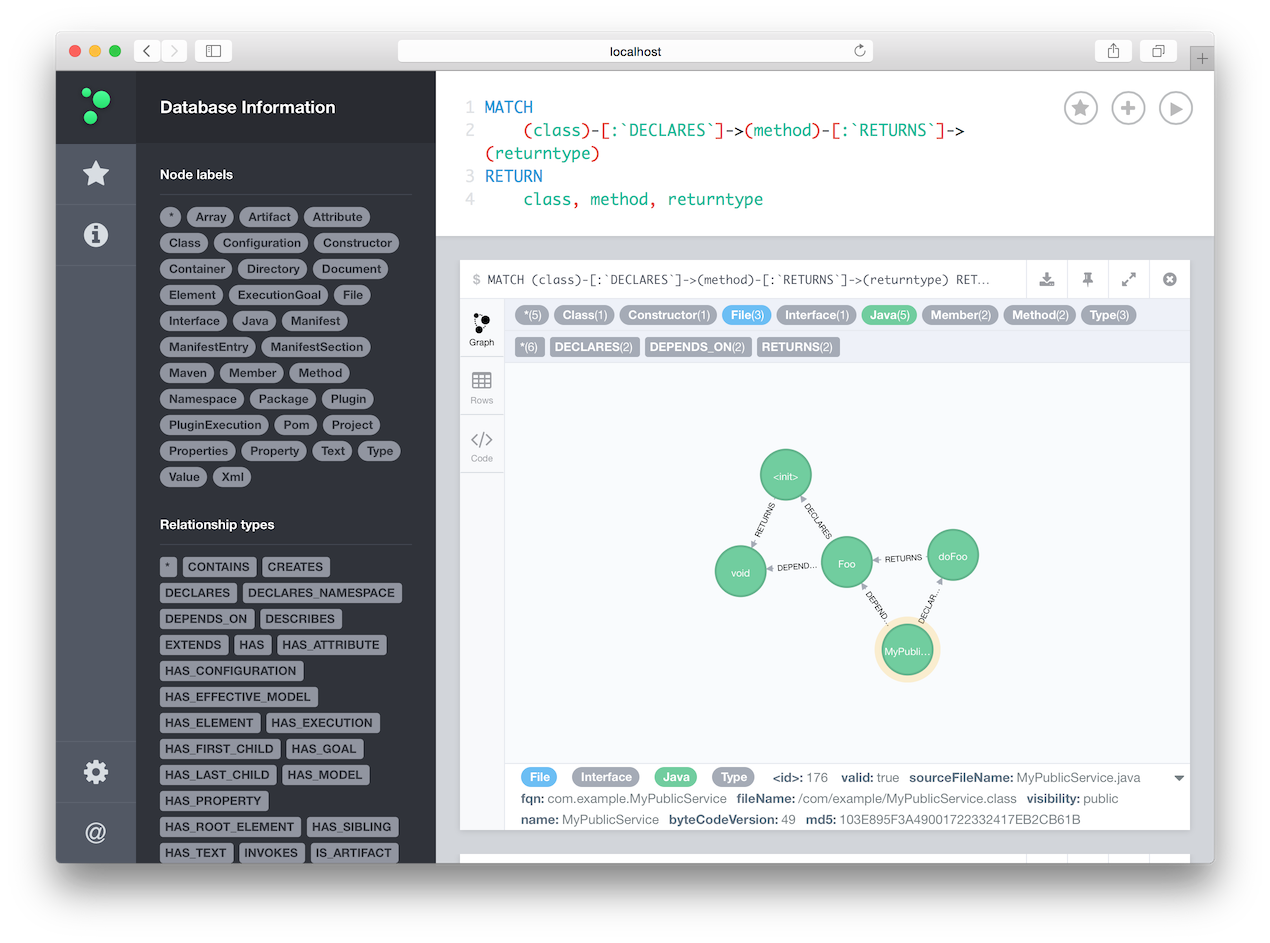 Browsing a jQAssistant model in Neo4j, align=